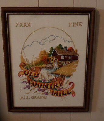 "Old Country Mill Completed Framed Sunset Crewel Embroidery 20"" by 16"""