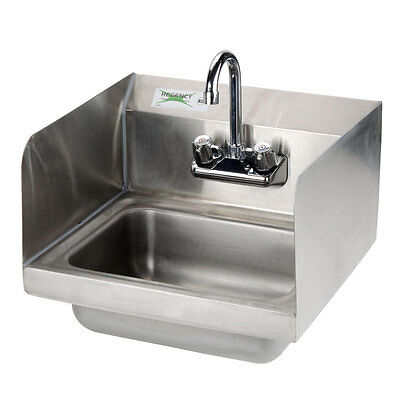 "Regency 17"" x 15"" Wall Mounted Hand Sink with Gooseneck Faucet and Sidesplash"