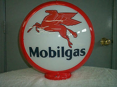 gas pump globe MOBILGAS reproduction 2 glass lenses in a RED plastic body NEW