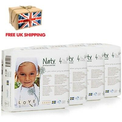 Naty by Nature Babycare Size 4 ECO Nappies - 4 x Packs of 27 - 108 Nappies NEW