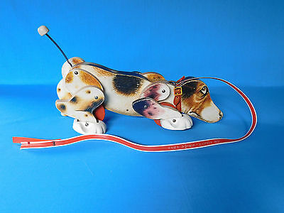 Vtg Fisher- Price 1961 Snoopy Dog Pull Toy #181 Original Tail Leash Good Decals