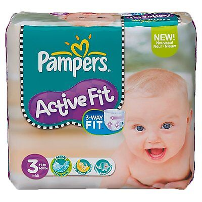 Pampers Active Fit Size 3 (Midi) Monthly Saving Pack - 204 Nappies FREE P&P NEW