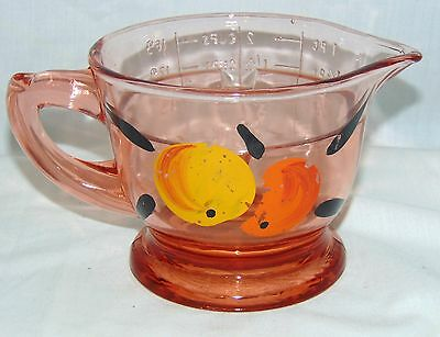 "US Glass PINK DEPRESSION* 4"" -2 Cup REAMER MEASURE PITCHER* w/PAINTED FRUIT*"