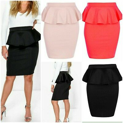 New Ladies Plus Size Women Short Peplum Party Evening Bodycon Skirts 16-24