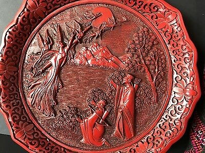 "Old Chinese Red Lacquer Cosamine Collection Plate ""Peacock"" …beautiful detail"