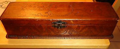 Vintage Pyrography Wood Glove Box Floral Design Ladies Face