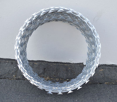 "12"" Razor / Helical Barbed Wire Galvanized Steel 1 Coil 20 Feet Coverage"