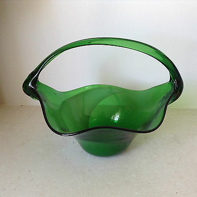 Heavy Glass Basket: Large, Green, Ornamental From The 1970's