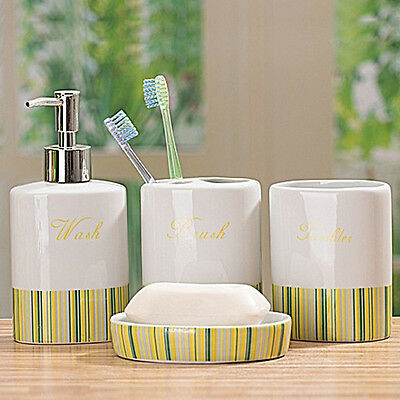4Pcs Ceramic Yellow Stripes Soap Lotion Toothbrush Holder Cup Retro Shabby Chi