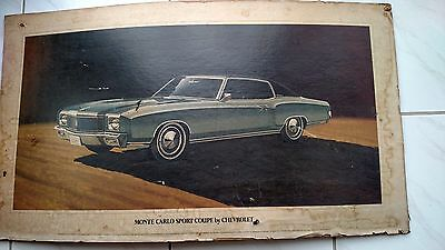 Rare 1971 Chevrolet Monte Carlo Large Cardboard Dealership Poster Original