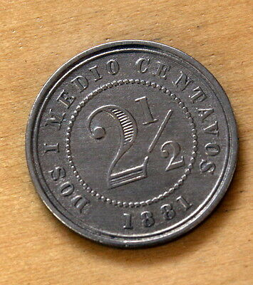 1881 Colombia 2 1/2 Centavos 18mm