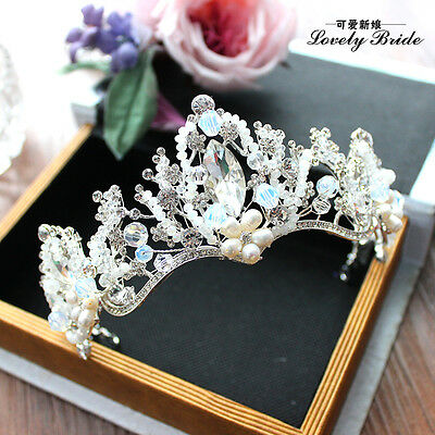 Sparkly Blue Crystal Head Pieces Wedding Hair Accessory Prom Queen Tiara Crown