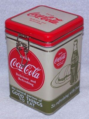 """Coca-Cola """"good Things To Eat"""" Square Lock-Top Canister Tin, New! L@@k!"""