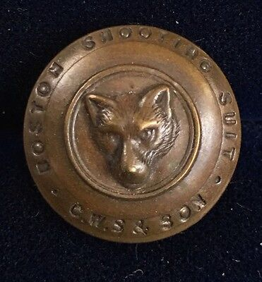 Antique BOSTON SHOOTING SUIT LIVERY HUNTING Buttons FOX Wolf X Rich Quality CWS