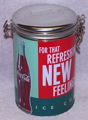 """Coca-Cola """"for That Refreshing New Feeling"""" Round Lock-Top Canister Tin, New!"""