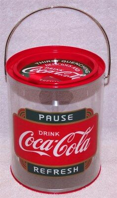 """Coca-Cola """"thirst Quenching"""" """"delicious And Refreshing"""" Clear Paint Can Tin, New"""