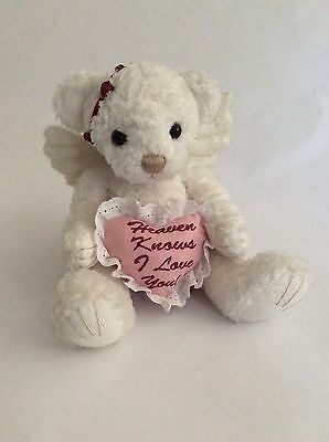"""FIRST & MAIN white ANGELICA ROSE TEDDY BEAR W/ HEAVEN KNOWS I LOVE YOU 8"""" plush"""