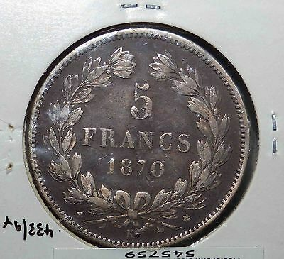 Rare France 2nd Republic 1870 K Silver 5 Francs Coin G/F Scarce This Grade