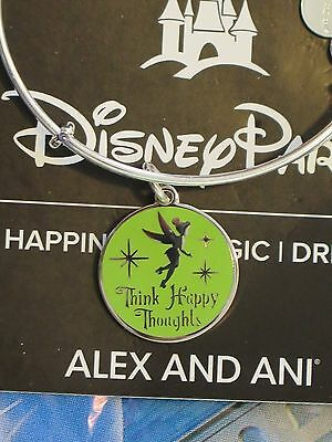 Disney Alex and Ani Tinkerbell SILVER Think Happy Thoughts Bracelet Tink Parks