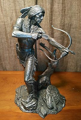"""Sioux Hunter By Jim Ponter Pewter Statue - 9.5"""" tall"""