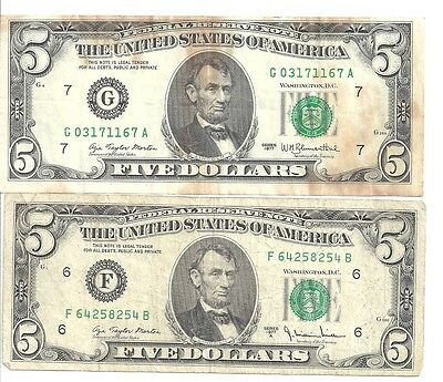 US paper money $5 of  1977 1977A