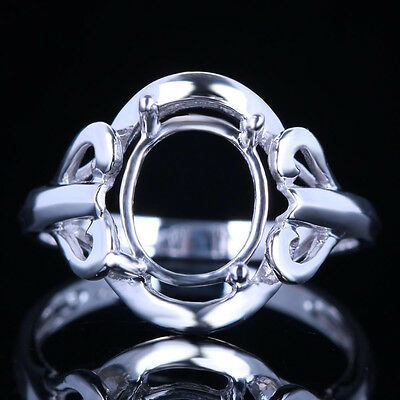 Oval 9x8m 10K White Gold Solitaire Semi Mount Setting Engagement Wedding Ring