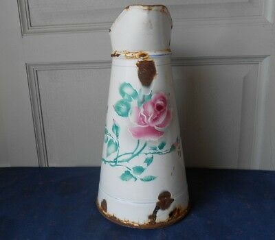 Antique FRENCH Enamel White FLORAL shabby  BODY PITCHER  JUG w/ PINK ROSE