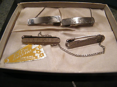Two Sets of Di Dee Sterling Silver Diaper Pins w/ Chains one monogrammed 1958