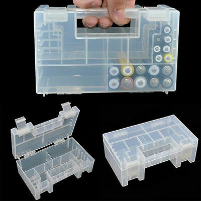 Large Translucent Hard Plastic Case Storage Box Holder For AA AAA Battery New