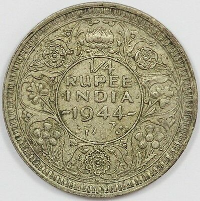 "1944 George VI British India Silver 1/4 Rupee ""Collectable Grade"""