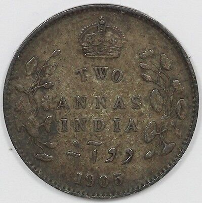 "1897 Edward VII British India Silver Two Annas ""Collectable Grade"""