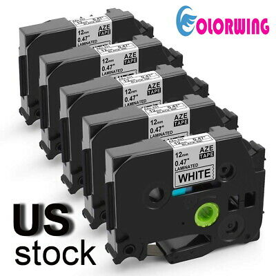 5 Pk TZe231 Label tape Compatible for Brother P Touch 12mm 1/2'' PT D210 white