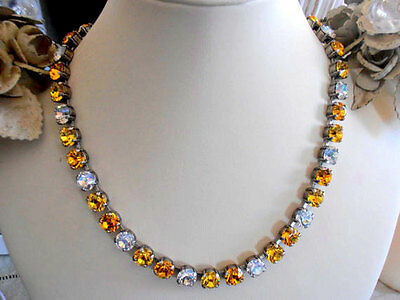 Swarovski Crystal Necklace, Yellow Crystal Cupchain Choker, Anna Wintour