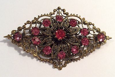 Pretty vintage Czech gold-tone metal & faceted pink glass brooch