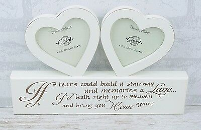"Photo Frame if Tears Could Build A Stairway .. Twin Heart Wood 3.5x3.5"" F1058"