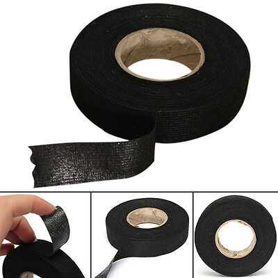 19mm 49ft Black Wiring Harness Cloth Adhesives Tape For Car Wire Heat Resistant