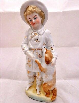 Antique Continental Porcelain Figure Figurine Young Boy with Spaniel Dog c 1880