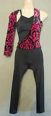 -Black Red All In One Catsuit Contemporary Ballet Modern Dance Festival 8-10 Ids