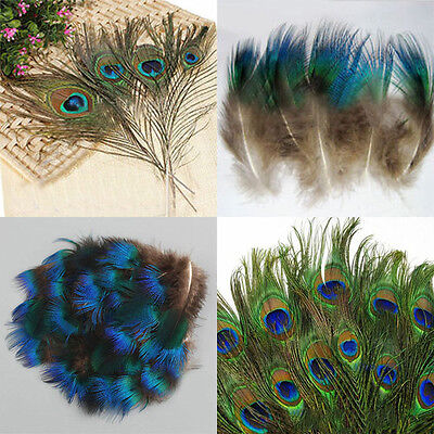 10/50pcs Natural Artificial Peacock Tail Eyes Feathers 8-12''/1-3'' DIY Deor Hot