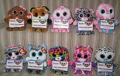 Ty Toys - Peek-A-Boo Plush Mobile Phone Holder/screen Wipe -  Chooses Character