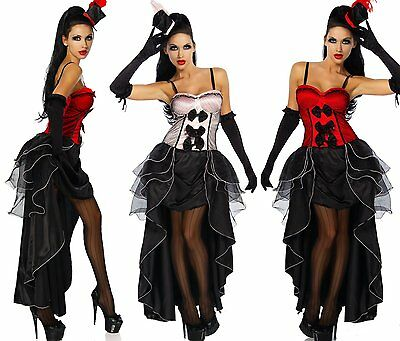 "4 pt. costume di cabaret ""Moulin Rouge"" Burlesque Costume Di Carnevale Set"