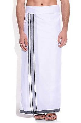 South Indian Off-white Plain Cotton Black and ArsenicGray border Festival  Dhoti