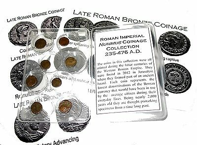 Ancient Roman hoard Nummus collection EIGHT tiny interesting coins, display case