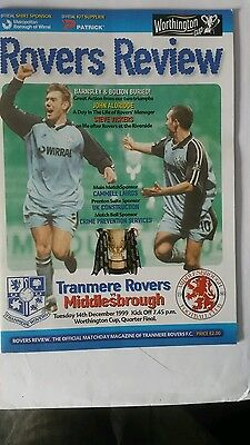 Tranmere Rovers v Middlesbrough  League cup Quarter Final 1999 - 2000