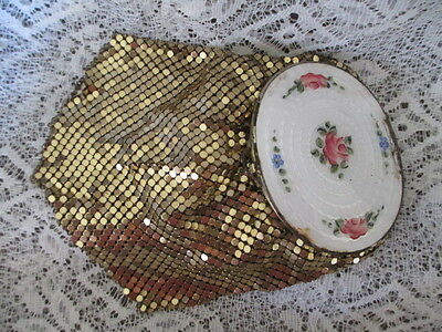Vintage Guilloche Enamel and Mesh Compact Purse