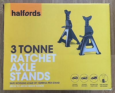 Halfords 3 Tonne Ton Ratchet Axle Stands (Pair) - New!!!