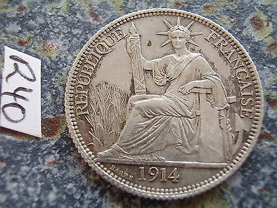 French Indochina 20 Cents Silver Coin 1914 Paris / Indo-Chine / Indo China