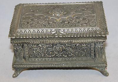"Vintage French Heavy White Metal Trinket Box With Floral Design 5.5"" x 3.5"" x 3"""