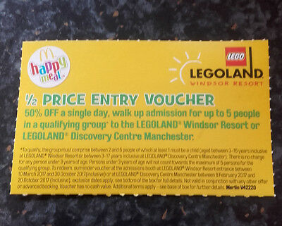 Legoland 1/2 price entry voucher for family of 5 (Ts&Cs apply - see photo)