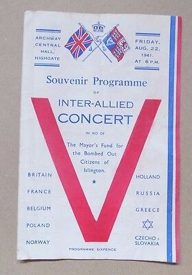 WW2 1941 Souvenir Programme of Inter Allied Concert (Signatures to Rear)